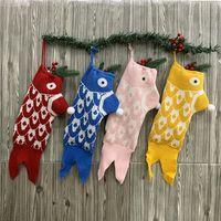 Wholesale knitted christmas stockings resale online - Christmas Stocking Mermaid Christmas Socks Knitted Gift Bag Santa Xmas Tree Hanging Gift Socks Christmas Socks Gift Bag Home Ornaments