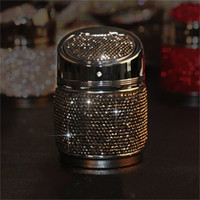 Pillar Shape Smoking Accessories With Lid Inlay Rhinestone Multi Color Cars Ornament Ash Tray Exquisite Ashtrays Metal Portables 27yj G2