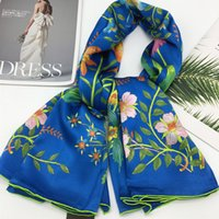Wholesale materials for scarves for sale - Group buy New style blue color silk material print flowers pattern square scarves for women size cm cm