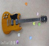 Wholesale left handed guitars resale online - Custom mahogany High quality Good sound LEFT Hand SG Wood color Electric guitar
