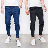 Wholesale mens legs resale online - Mens Denim Jeans Pants Bottoms Skinny Legging Elastic Waist with Pencil Jeans Men Fashion Casual Sports Softener Trousers