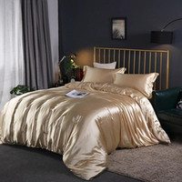 Wholesale satin quilt covers resale online - 100 Satin Silk Bedding Set Luxury Quilt Duvet Cover and Pillowcase Sheet Bed Sheet Set Single Double Bedclothe Silky Bed Set