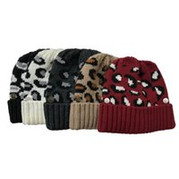 Wholesale snowboarding hats women resale online - Outdoor Ski Skull Hat Soft Cable Knitted Ponytail Hats Leopard Button Caps Winter Thick Warm Hat Women Criss Cross Beanies Kimter L759FA