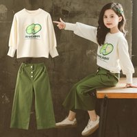 Wholesale spring clothes for teens for sale - Group buy Child Girls Clothing Set Spring Teen Girls Sport Suit Avocado Hoodie Wid Leg Pants School Kids Tracksuit for Girls Clothes