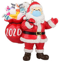 Wholesale 2020 Quarantine Christmas Ornaments mask wearing santa claus carring hand sanitizer Gift bag Resin Christmas Tree Decors pendants new style