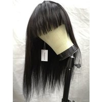 Wholesale Magipark Brazilian Straight Human Hair Wigs with Bangs Brazilian Virgin Hair Density Machine Made None Lace Front Wigs for Black Women