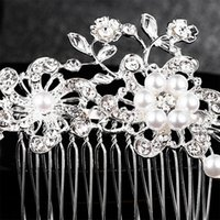 Wholesale hair for bridesmaids resale online - Qyy Fashion Crystal Pearls Hair Combs Wedding Hair Accessories Bridal Head Jewelry Hair Fork For Bride Bridesmaids bbyyKb hotclipper