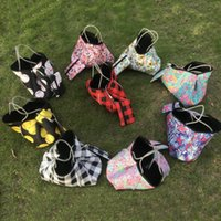 Wholesale ladies gym bags resale online - Neoprene sunflower plaid baseball handbag check printed storage bags fashion lady girl beach gym shoulder bags with small coin bag EWC2840