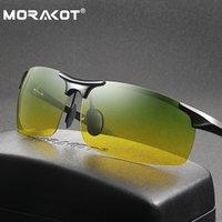 Wholesale mens night sunglasses resale online - MORAKOT Mens Polarized Day Dual use Sunglasses UV400 Sport Driving Goggles Night Vision Anti Glare Glasses P003218