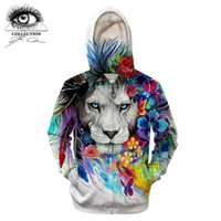 lion king hoodies sweatshirt 2021 - King of the lion by Pixie cold Art 3D Zipper Hoodies Men Sweatshirts Brand Tracksuits Casual Streetwear Animal Hoodie ZOOTOP B1