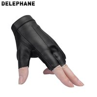Wholesale leather working gloves for sale - Group buy Black Leather Fingerless Gloves Women Summer Fashion Bike Riding Gloves Non slip Sport Working Hiking Climbing Running Gym