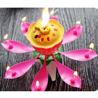 Wholesale sings flower for sale - Group buy Pink Lotus Music Candle Lotus Singing Birthday Party Cake Music Flash Candle Flower Music Candle Cake Accessories Holiday Supplies CY Z35