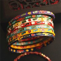 Wholesale vintage enamel bangles resale online - Very fine filigree Enamel Women Bangle Traditional Handicraft Polished Hard Bracelet Chinese Cloisonne Bangles Vintage Jewelry