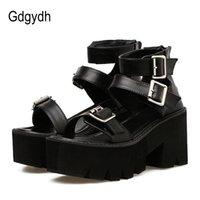 Wholesale unique summer sandals resale online - Gdgydh Ankle Strap Summer Fashion Women Sandals Open Toe Platform Shoes High Thick Heels Female Black Unique Party Shoes