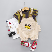 Wholesale bee set baby resale online - Cute Baby Girl Boys Set Bib Cartoon Bee Clothing Striepd T Shirt Short Overalls Infant Outfits Clothes Suit C1016