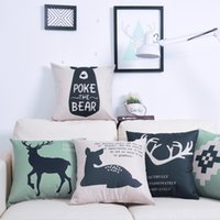 Wholesale custom printed pillows resale online - 45 cm Custom Pillow Flaxen Encrypted Cotton Linen Pillow Covers Cartoon Deer Minimalistic Geometric Amazon Explosion Pillowcase GWB2669