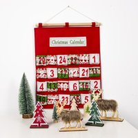 Wholesale admission resale online - Red Christmas Advent Calendar Wall Hanging Xmas Ornament Printing Candy Bag Count Down Admission Gift Bags Home Decoration OWD2478