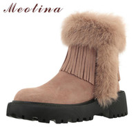 Wholesale pink fringe boots resale online - Meotina Women Snow Boots Shoes Real Leather Platform Block High Heel Ankle Boots Fringe Zip Leather Fur Short Pink