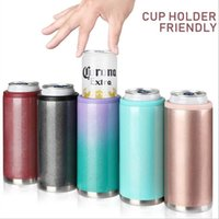 Wholesale bottle coke can resale online - Cooler Tumbler Stainless Steel Vacuum Coke Can Skinny Cooler Slim Can Mug Beer Tumbler Cola Holder Bottle Container sea shipping EWB2467