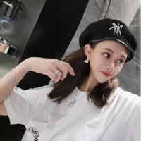 Wholesale bud hats resale online - Web celebrity anise hat for women black fleece bud hat for autumn winter embroidered letter berets
