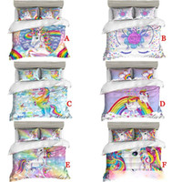 Wholesale super king size 3d bedding sets resale online - 3D Cartoon Bedding Sets Colorful Floral Unicorn Duvet quilt Cover with Pillowcase Luxury Bed clothes Twin Full Queen Super king Size