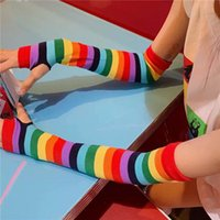 Wholesale striped long arm warmer for sale - Group buy 2 Pair Rainbow Striped Long Gloves Autumn Warm New Half Finger Arm Sleeve Knitted Sunscreen Arm Sleeve Gloves