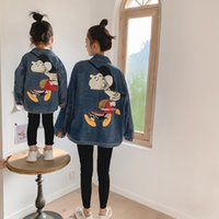 Wholesale mother daughter match denim for sale - Group buy Mother And Daughter Denim Jacket Girls Back Cartoon Printed Single breasted Denim Coat Mommy And Me Matching Clothing A4654