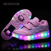 Wholesale child light shoes wheel resale online - led shoes on wheel children rollers new roller sneakers with two wheels kids shoes for girls boys light shining glowing luminous