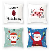 Wholesale christmas pillow cases resale online - 40 Designs Pillow Case Santa Claus Christmas Tree Snowman Elk Pillow Case Colorful Pillow Cover Home Sofa Car Decor Pillowcase OWA2002