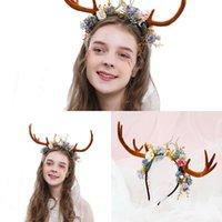 Wholesale plastic animal horn resale online - Antlers Headband Party Festival Christmas Reindeer Cosplay Flowers Antler Hairbands Deer Horn for Girl M85E