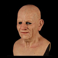 kafa maskeleri toptan satış-Another Me-The Elder, Realistic Old Man Mask, Wrinkle Face Mask, Latex Full Head Mask for Masquerade Halloween Party Realistic Decor Costume