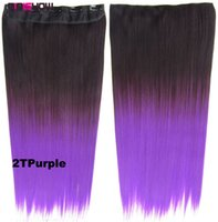 Wholesale dip dye hair ombre resale online - Girlshow clip in on synthetic dip dye ombre hairpieces two tone straight slice hair extension kinds of colours130g60cm pc