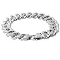Wholesale 15 inch silver chain resale online - Hip Hop Stainless Steel Bracelet mm Inches Curb Cuban Chain Silver Color Bracelets for Men Women