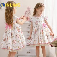 Wholesale LINLING Children Spanish Style Sweet Dress Floral Lolita Bow Print Floral Classic Retro Ruffles Party Kids Cute Girl Dress V441