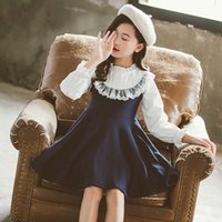 Wholesale School New Spring Girls Clothing Dress Baby Casual Dress Kids Patchwork Fall Clothes Children Long Sleeve Dress Blue White