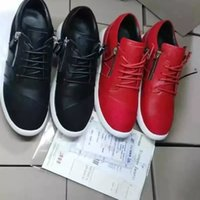 Wholesale korean styled shoes resale online - Hot sale new style men women Korean leather white bottom red black upper metal side zipper warm and breathable casual shoes
