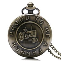 Wholesale word watches for sale - Group buy Vintage Bronze Harvester Design quot Proud To Be A Farmer quot Words Quartz Pocket Watch Necklace High Quality Fob Watch Gift For Farmer