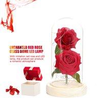 Wholesale black flower simulation resale online - Valentine s Day Gift Simulation Gold Foil Rose Led Lighting Beauty Eternal Rose Immortal Glass Cover Artificial Flower Sea Shipping DDA664