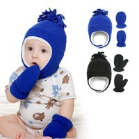 Wholesale fleece baby hats resale online - Free DHL Newest Colors INS Baby Kids Boys Girls Beanies with gloves Pieces Set Fleece Blank Winter Children Caps Hats for T