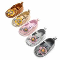 Wholesale shine shoes resale online - Newborn Baby Shoes Shining PU Leather Cotton Soft Sole Smile Summer Flower Princess First Walkers Crib Shoes Toddler Girl