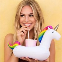 Wholesale swimming pool toys boats resale online - Unicorn Inflatable Cup Holder for Pool Float Drink Holder Boat Beer Holder Swimming Ring Bar Tray Bathing Toys OWB944