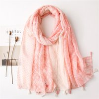 Wholesale pink feather scarves resale online - Spring Thin Ladies Scarf Shawl Feather Printed Hijab Scarf Pink Color Viscose Head Neck Wraps Soft Beach Travel Shawl