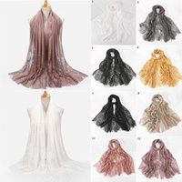 Wholesale long hijab shawl resale online - Elegant Floral Print Scarf Women Solid Color Hijab Wrap Fashion Long Tassel Muslim Headscarf Shawls Foulard Cover up Bandana jllrul xjfshop