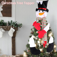 Wholesale topper hats resale online - Gift Cheerful Party Home Decor Holiday Festival Cute Snowman Winter Ornament With Hat Christmas Tree Topper Living Room Pendant