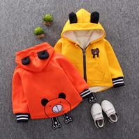 Wholesale kids velvet hoodies resale online - Cartoon Bear Baby Boys Jacket Kids Winter Thick Velvet Warm Cotton Hoodies Coat Children Casual Outerwear Infant Clothing C1012