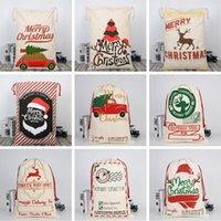 Wholesale refrigerator types resale online - Christmas Canva Bags Sled Elks Santa Sack Drawstring Bag Christmas Candy Gift Bags Printing Storage Bag Christmas Decorations GWE2067