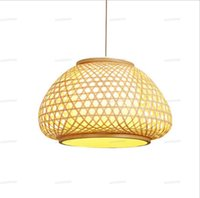Wholesale asian countries resale online - 40 cm Bamboo Wooden Wicker Rattan Pendant Light Fixture Woven Asian Nordic Country Vintage Hanging Ceiling Lamp E27 Bulb