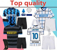 Wholesale brown soccer jerseys resale online - 2020 Inter LAUTARO SKRINIAR Milan adult Soccer Jersey full kits inter BARELLA LUKAKU men Football Shirt kit with socks