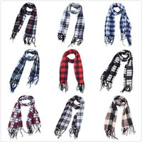 Wholesale winter fur scarf for sale - Group buy Fashion Plaid Scarves Grid Tassel Wrap Oversized Check Shawl Tartan Cashmere Scarf Winter Nation Styles Neckerchief Blankets IIA773