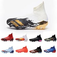 Wholesale gold youth cleats for sale - Group buy Soccer Boots High Predator Laceless Inflight Footwear White Gold Metallic Youth Big Kids Mens Locality Pack Football Cleats